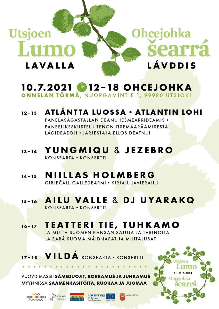 Uusi Utsjoen Lumo – Ohcejohka šearrá -tapahtumaviikko tuo heinäkuussa Utsjoelle tapahtumia ja tempauksia kaikenikäisille! Ilmoita teemaviikolle myös oma tapahtumasi!